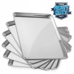 New Commercial Grade Aluminum Baking Sheet Assorted Sizes 6 Pans