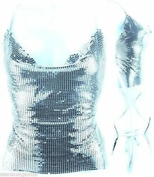New Backless Halter Shirt Cool Blue Color Metal Mirrors Mesh Women Top $35.16