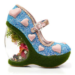 Irregular Choice Forbury Gardens Chic Pink Heart Glitter Floral Deer Heel Shoes