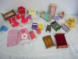 DOLL HOUSE FURNITURE LOT VARIETY WOOD VINTAGE PLASTIC CABBAGE PATCH RED CHAIR