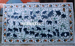 Variety of Elephant Art With Marble Dining Table Inlay Patio Outdoor Decor H3493