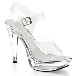 5quot; Clear Platform Fitness Competition Heel Bikini Contest Shoes Pleaser Cocktail $44.95