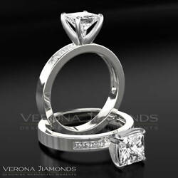 Women Diamond Ring Enhanced Solitaire With Accents 1.50 ct 18K White Gold