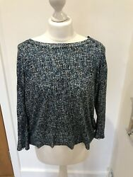Gorgeous COS Blue Print 34 Sleeve Button Back Jumper Size M Good Conditon