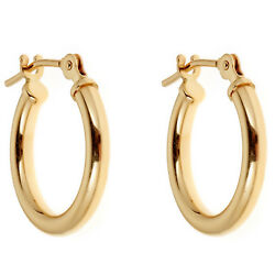 14K Yellow or White Gold Tubular Shiny Round Hoops Hoop Earrings (1214 16 mm )