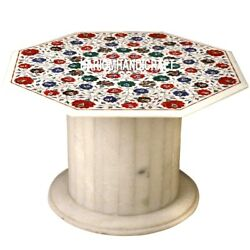 White Marble Console Table Top With Stand Floral Inlay Art Patio Furniture H3540