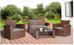 Outdoor Furniture Patio Cushion Wicker Garden Set 4 Pc w Cover Brown Wicker