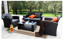 Outdoor Furniture Patio Cushion Wicker Garden Set 4 Pc w Cover Black Wicker