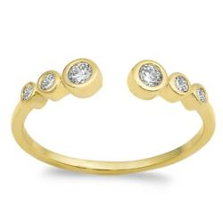 Yellow Gold Plated Cubic Zirconia Bezel .925 Sterling Silver Ring Sizes 4-10