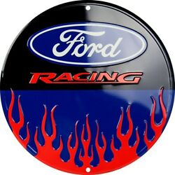 Ford Racing Flames 12quot; Round Metal Sign Garage Embossed Retro Home Wall Decor $14.28