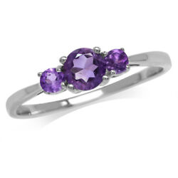 Petite 3-Stone Natural African Amethyst 925 Sterling Silver Promise Ring