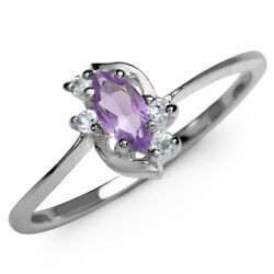 Natural Amethyst & White CZ Gold Plated 925 Sterling Silver Ring