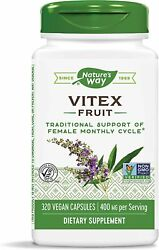 Nature#x27;s Way VITEX Fruit Chaste Tree 400 mg 100 caps FEMALE MONTHLY CYCLE $12.95