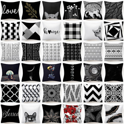 18x18quot; Black White Throw PILLOW COVER Double Sided Decorative Soft Cushion Case