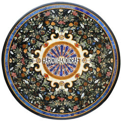 Round Dining Table Marble Top Marquetry Inlay Patio Furniture Garden Decor H3872