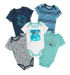 Lucky Brand Infant Boys 5 Pack Blue & White Bodysuits Size 03M 36M 69M $13.49