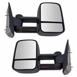 Towing Mirror Manual Textured Black Pair for Chevy Silverado GMC Sierra Pickup