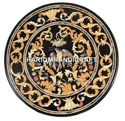 Black Marble Dining Table Top Inlay Gems Ancient Bird Patio Collectible Art H481