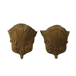 Pairing Acanthus Leaf And She'll Carved Wooden Wall Pockets