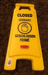 New Commercial Safety Floor Sign Rubbermaid FG611278YEL 25quot;Hx11quot;W