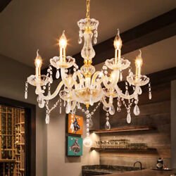 Ridgeyard 6 Arms Clear Gold Chandelier Lighting Ceiling Fixture Pendant Lamp US $55.40