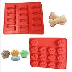 Pet Dog Bone & Paw Soap mold Silicone Candy Chocolate Fondant Tray ICE Cube W