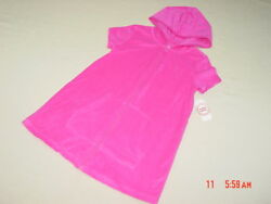 NWT Girls Terry Cloth Beach Cover Up Swim Pink Summer Zippered Hooded Sporty $12.88