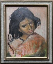 PHILIP NAVIASKY BRITISH OIL PAINTING ART DECO PORTRAIT YOUNG GIRL 1894-1983