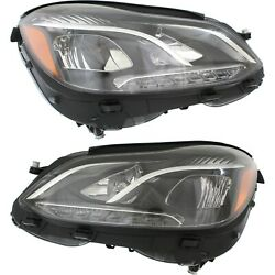 Headlight For 2014-2016 Mercedes-Benz E250 Pair Driver and Passenger Side