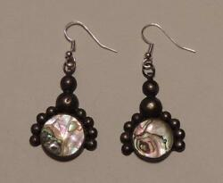 Vintage Sterling Silver Abalone Earrings New Wires Crown Marked Mexico