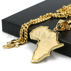 Stainless Steel Solid Gold Africa Map Pendant w 5mm Miami Cuban Chain $21.73
