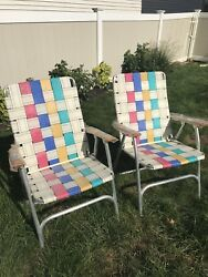 Vintage Webbing Folding Lawn Chair Beach Camping Retro High Back Bright Color