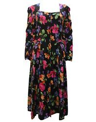BOHO HIPPIE VINTAGE BUTTONED LONG SLEEVE FLORAL MAXI DRESS FREE SIZE 8 12 MULTI GBP 22.99