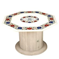 Marble Top Side Center Table With Stand Lapis Inlaid Real Hallway Decorate H3542