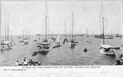 Highland Beach New Jersey Shrewsbury River Sail Boats Antique Postcard K106213