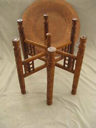 Egyptian Copper Tray Wooden Table Stand Arabic Islamic Design Tea Coffee 20quot; $319.99