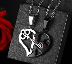 2pcs His and Hers Stainless Steel Love Heart Lock & Key Couple Pendant Necklace $3.11