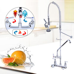 12quot; Commercial Wall Mount Kitchen Pre Rinse Faucet w Add On Tap Restaurant