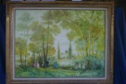 Stefano Sideris Painting Landscape with Figures Signed Original 30 x 40