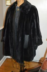 dior black sheared mink fur & leather swing style coat jacket L xl 1x