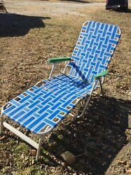 Vintage Webbing Webbed Aluminum Folding Lawn Chair RV Camping Lounge Chaise