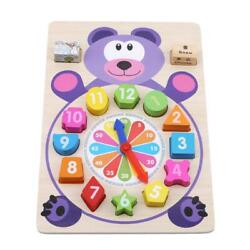 Wooden Clock Kids Blocks Early Learning Building Educational Toy for Kid Gift Q $10.26