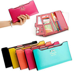 Women Cute Bow Long Leather Thin Wallet Purse Multi ID Credit Card Holder Gift $10.89