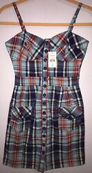 MAX RAVE WOMENS Girls Blue White Orange Plaid Top Cotton Dress Beach Casual XS