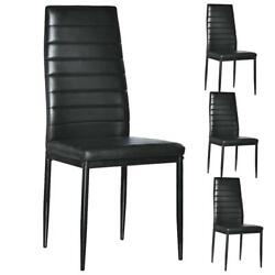 Set of 4 PU Leather Dining Side Chair Modern Elegant Design Home Furniture Black $89.99