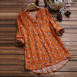 Womens Cat Print 34 Sleeve T Shirts Blouse Ladies Tunic Loose Tops Plus Size LM