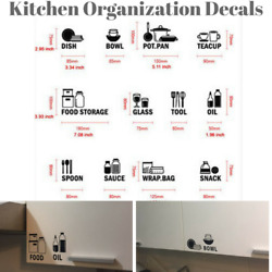 Kitchen Cabinet Labels Decal Storage Home Decor Wall Art Stickers Removable DIY $24.97
