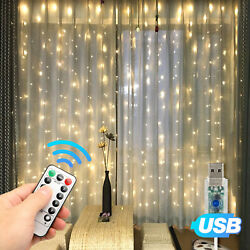 300LED Party Wedding Curtain Fairy Lights USB String Light Home wRemote Control $10.97