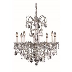 Elegant 9708 Athena 8-LT 24' Crystal Chandelier PewterClear - 9708D24PW-SS