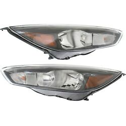 Headlight For 2015-2018 Ford Focus SE SEL ST Pair LH and RH with LED DRL